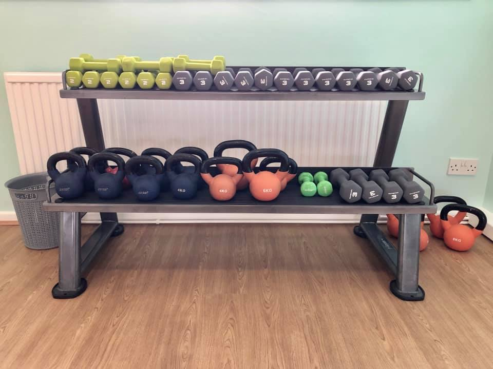 dumbells and kettlebell classes